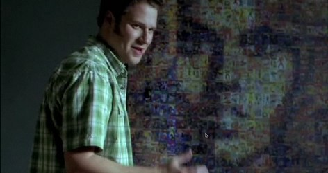 Seth Rogen in front of Barbarella mosaic poster. Still frame from