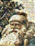 Mosaic Santa from old postcards