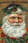 Santa made from postcards